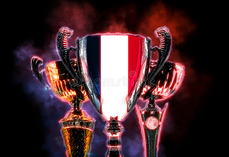 战利品杯子构造与法国的旗子 数字式例证 向量例证