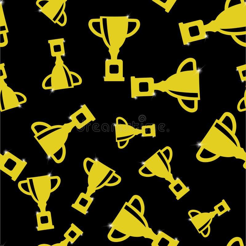 战利品杯子的传染媒介图象 杯-赢得,鼓励的标志,获得奖 在白色的奖无缝的样式 向量例证