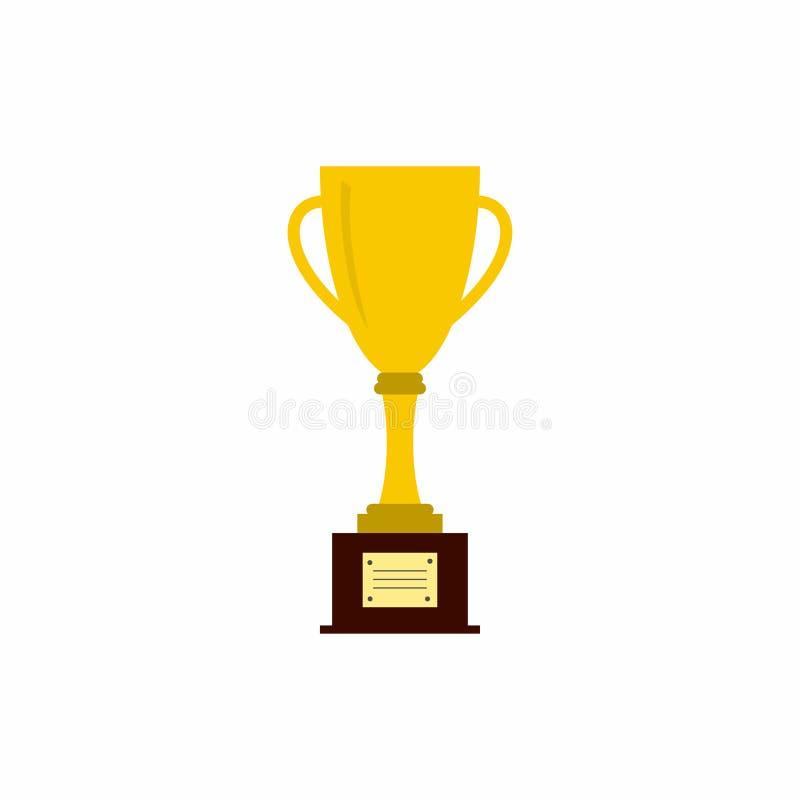 战利品杯子 在白色背景隔绝的金黄优胜者战利品 库存例证