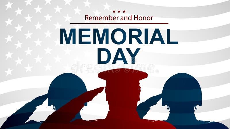 战士为阵亡将士纪念日现出轮廓向美国旗子致敬 海报或横幅例证 库存图片