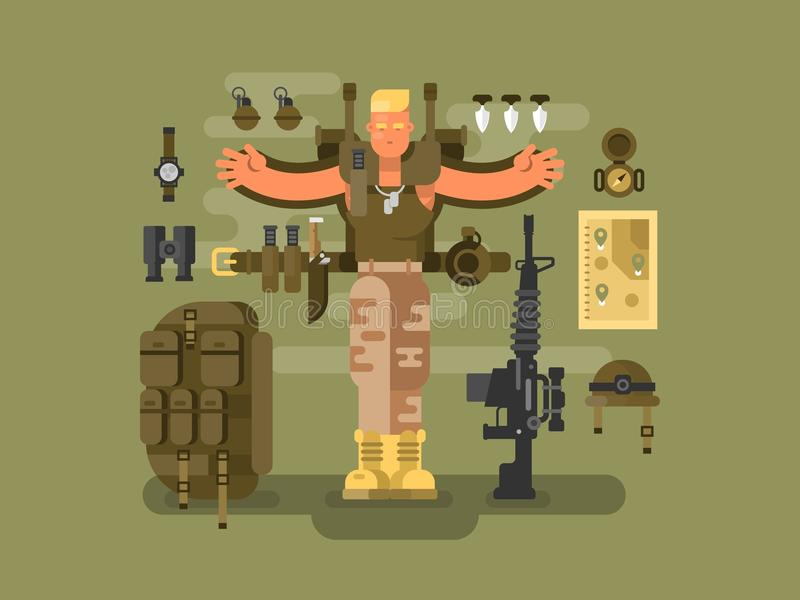 战士和弹药平展设计 库存例证