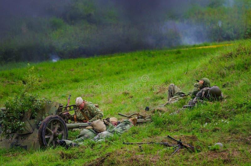 战士和爆炸 库存照片