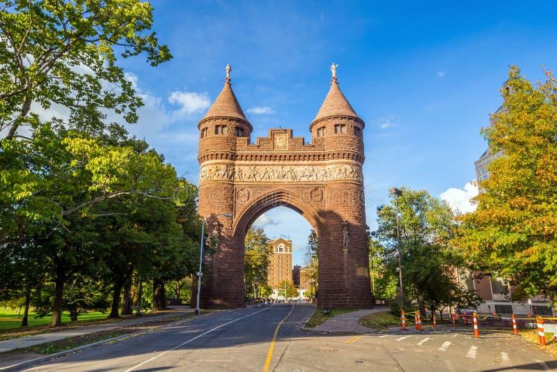 战士和水手纪念曲拱在哈特福德 库存图片