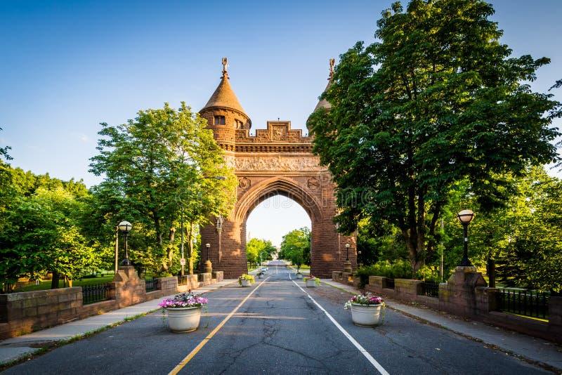 战士和水手纪念曲拱,在哈特福德,康涅狄格 免版税库存照片