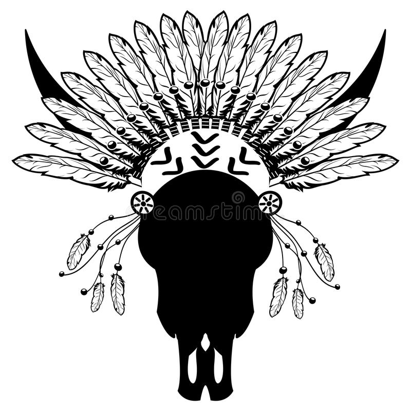 战士样式有部族头饰的野生动物头骨与简单的羽毛、装饰带和小珠在白色和黑色 皇族释放例证