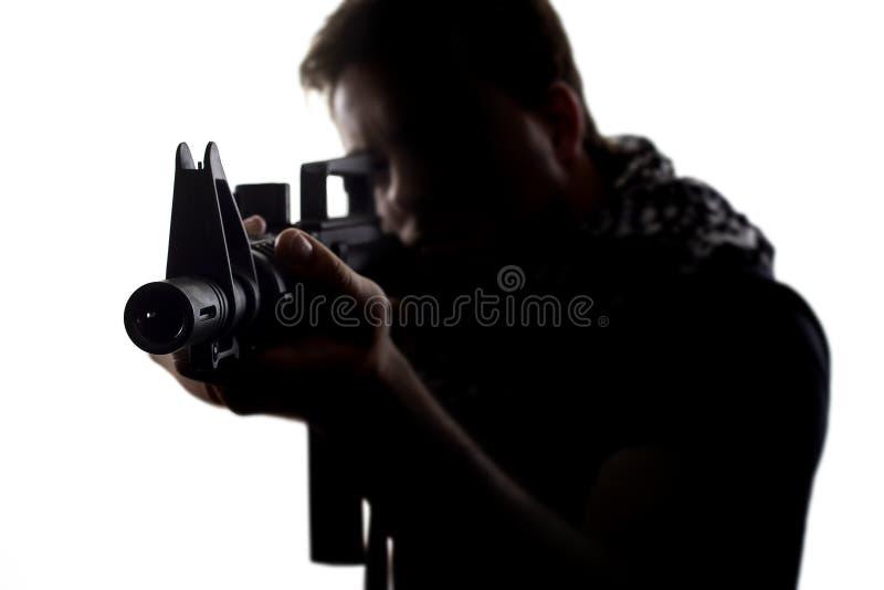 战士的剪影 免版税库存照片