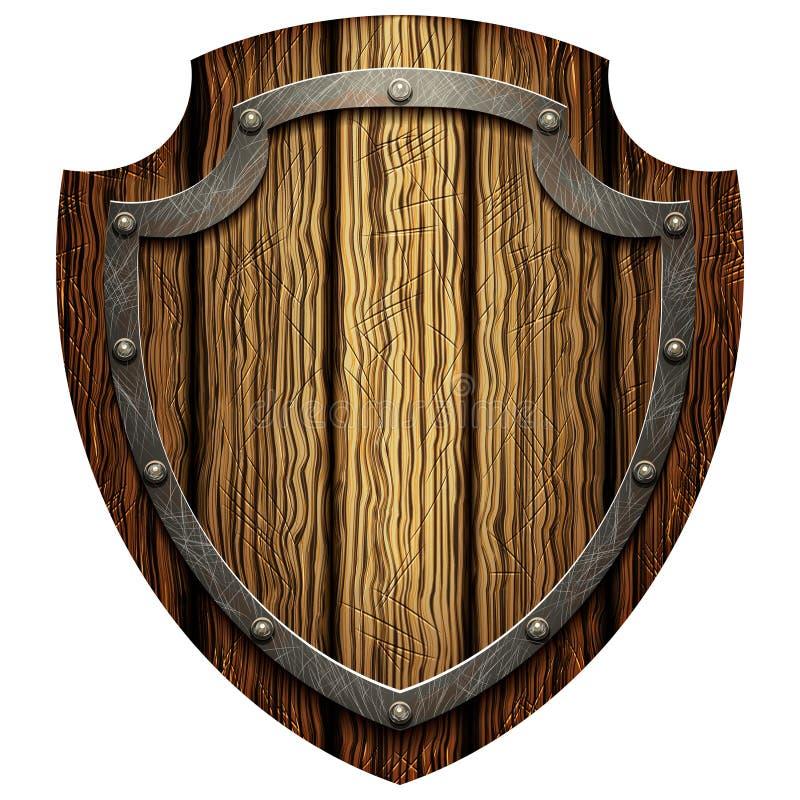 战士的橡木的盾有金属螺柱的 向量例证