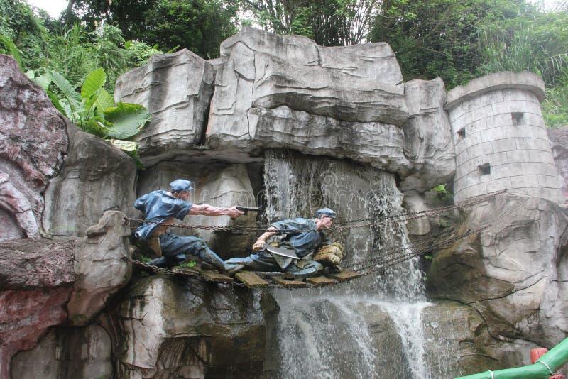 战士的雕象战争的在红军Parkï ¼ Œshenzhen,瓷 免版税库存图片