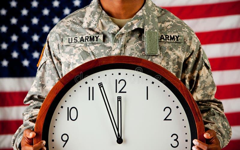 战士:接近午夜的时钟 免版税库存图片