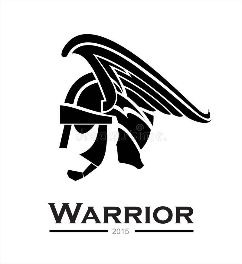 战士 战士盔甲,战士头,战士外形,侧视图o 库存例证