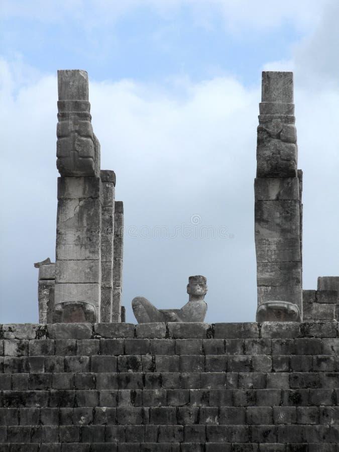 战士细节的寺庙在奇琴伊察 免版税库存图片