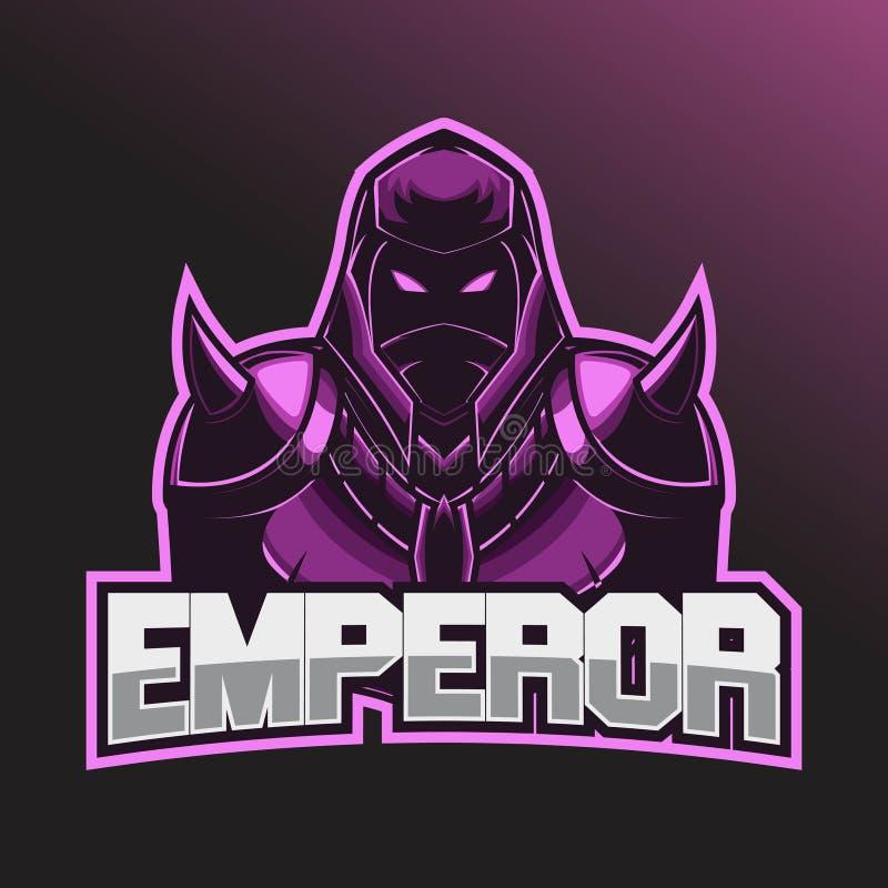 战士Esport商标 Esport与佩带盔甲和作战装甲的商标模板 库存例证