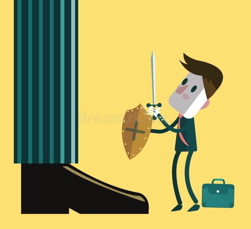 战斗与巨型商人的小小商人 向量例证