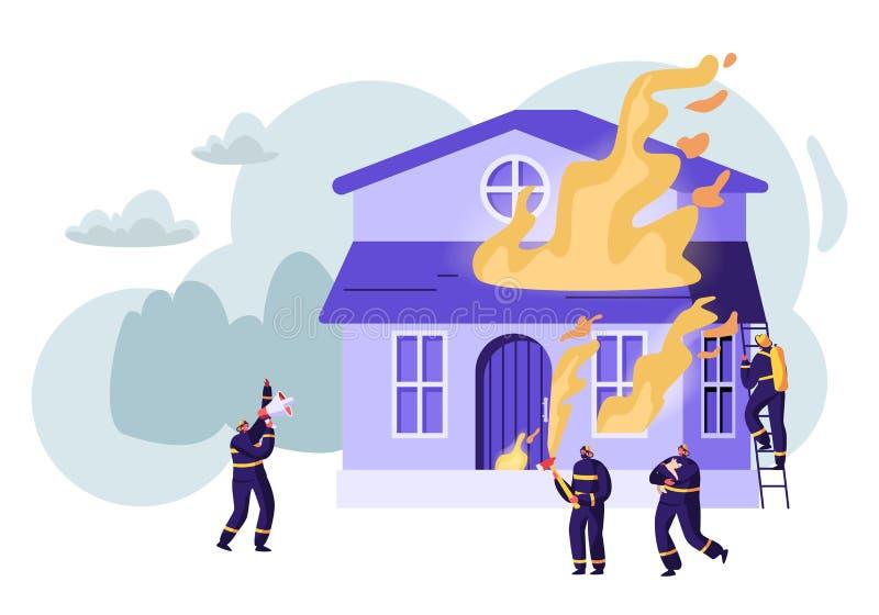 战斗与火焰的小组消防员在燃烧的议院 男性角色在制服熄灭与大火的消防队员合作 皇族释放例证