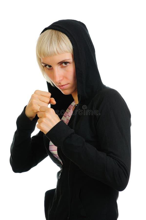 战斗准备好运动对妇女 库存图片
