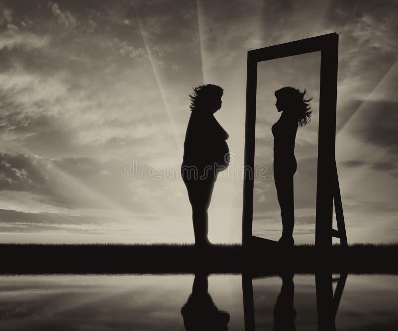 战斗和欲望的概念与肥胖病的是亭亭玉立的 库存照片
