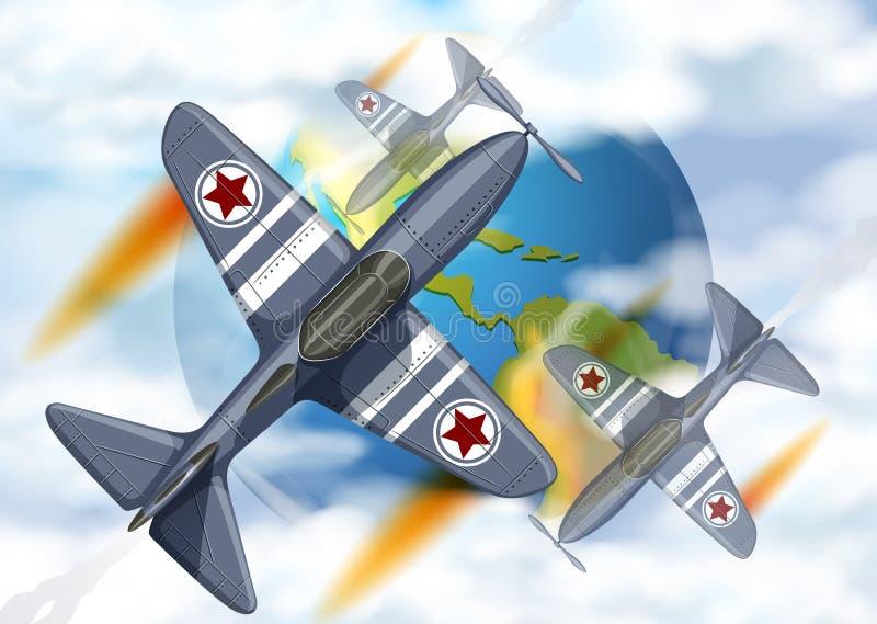 战斗在地球附近的飞机飞行 库存例证