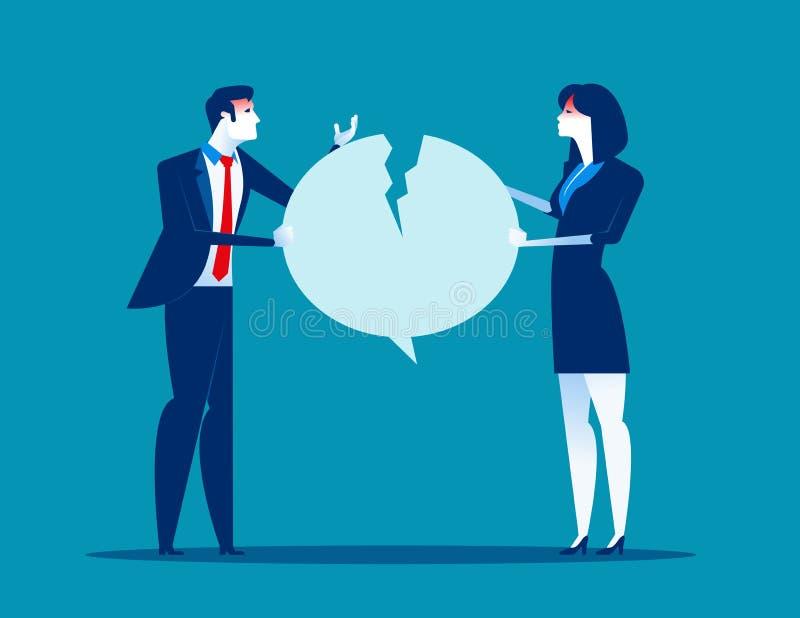 战斗在讲话泡影 在雇员之间的争吵 r 向量例证