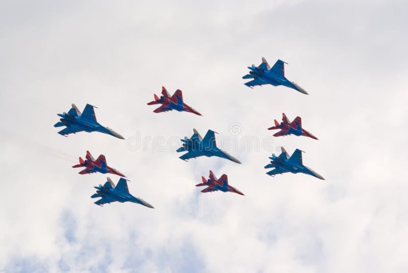 战斗机形成喷气机 免版税库存图片