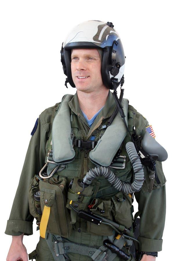 战斗机查出的喷气机海军飞行员 库存图片