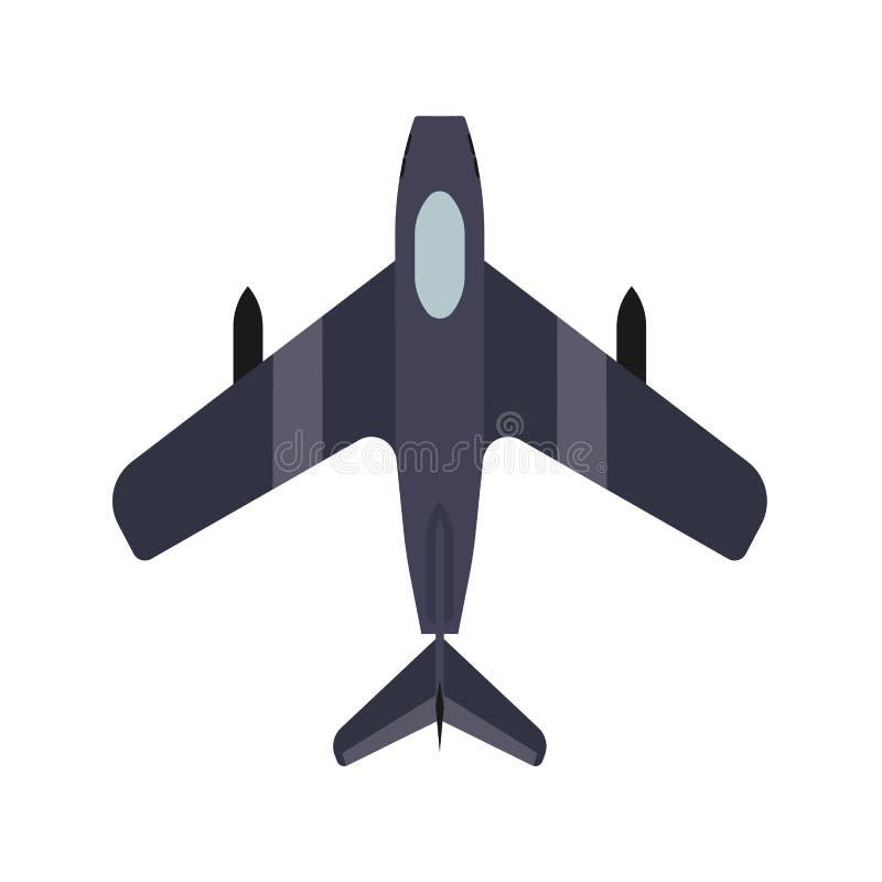 战斗机运输顶视图传染媒介象防御 上面武器作战攻击军事战机例证 向量例证