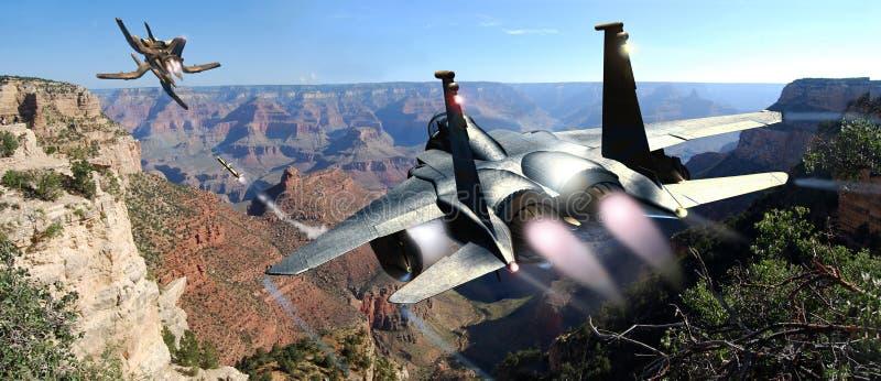 战斗机追求飞碟 皇族释放例证