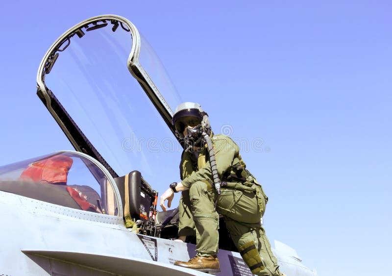 战斗机飞行员和喷气机 库存照片