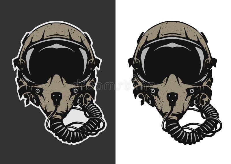 战斗机飞行员盔甲 向量例证