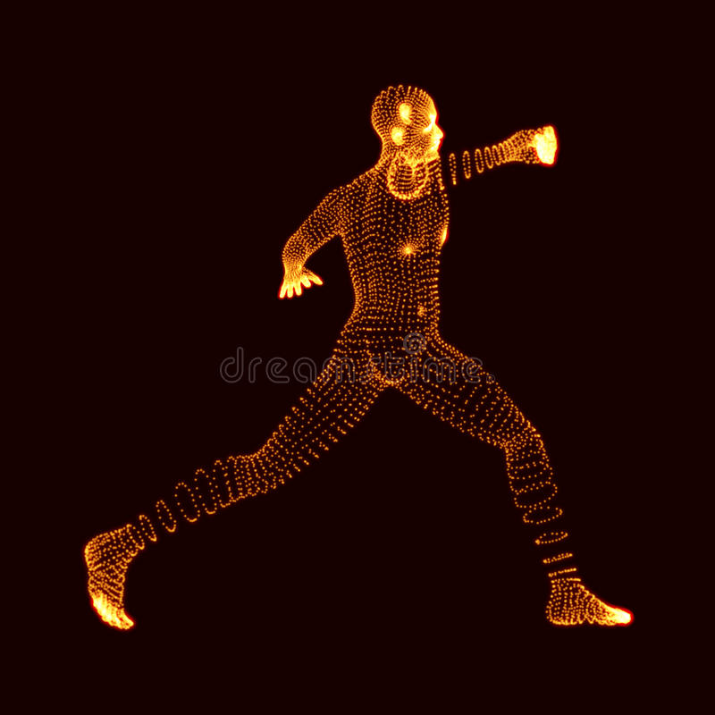 战斗的人 3D人模型  人体模型 身体扫描 人体看法  向量图形组成由微粒 库存例证