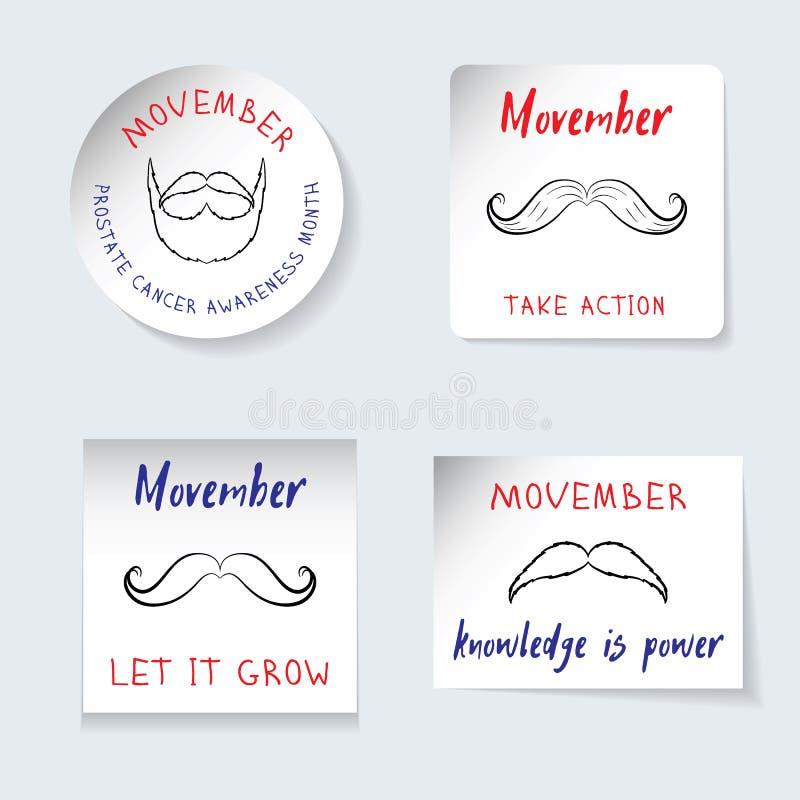 战斗的前列腺癌Movember题材 套贴纸,不同的形状横幅  提醒题字,标志,髭, 库存例证
