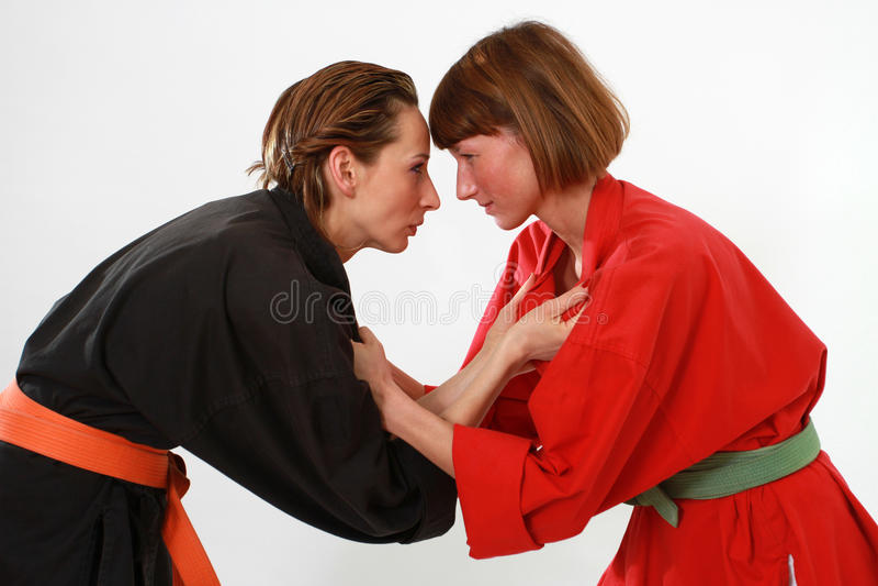 战斗的姿态的妇女 免版税图库摄影