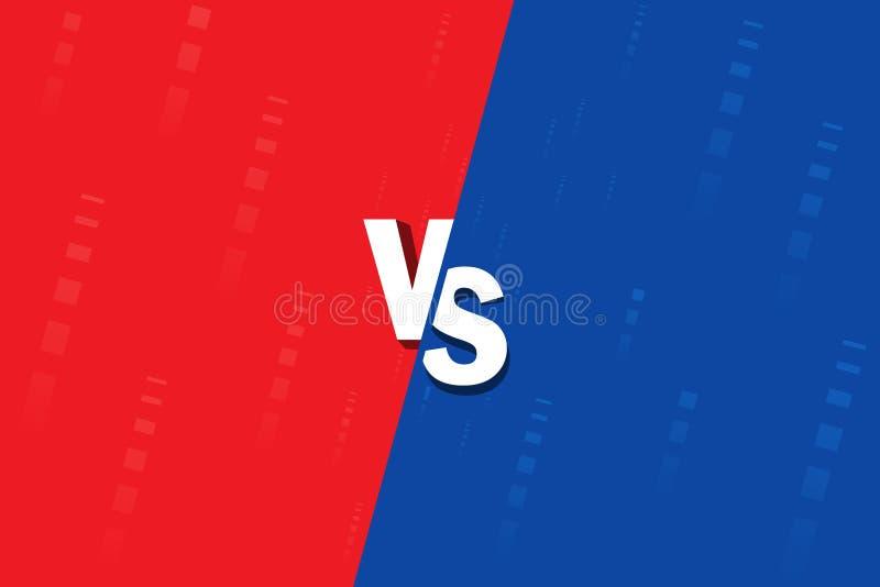 ? 战斗背景互相反对,蓝色反对红色 屏幕比较 库存例证