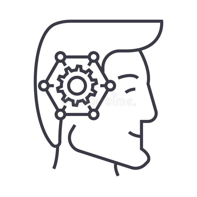战略想法的顶头线性象,标志,标志,在被隔绝的背景的传染媒介 向量例证