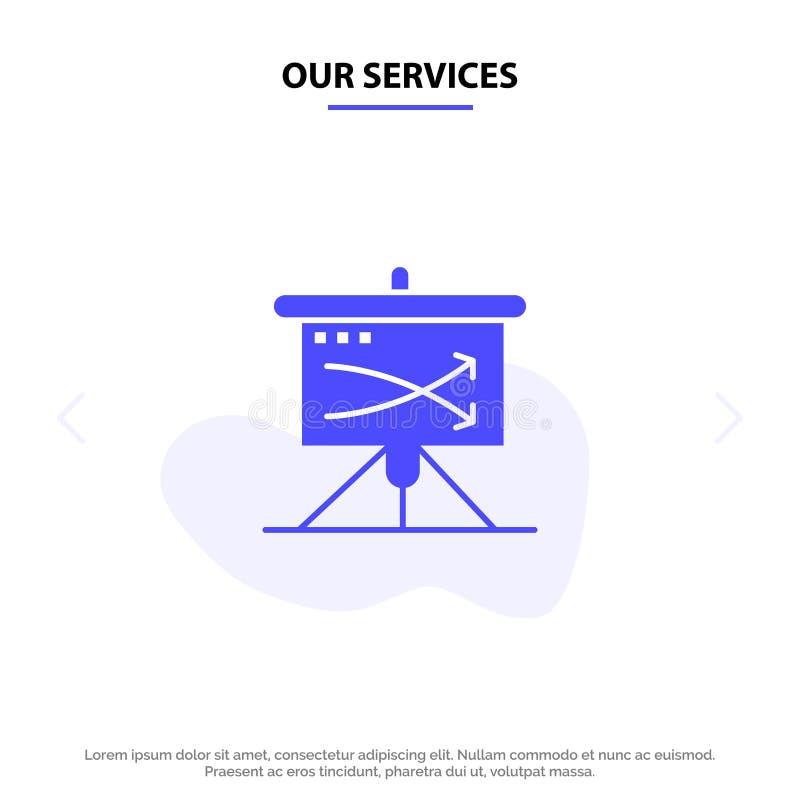 战略我们的服务,事务,计划,计划,图表坚实纵的沟纹象网卡片模板 向量例证