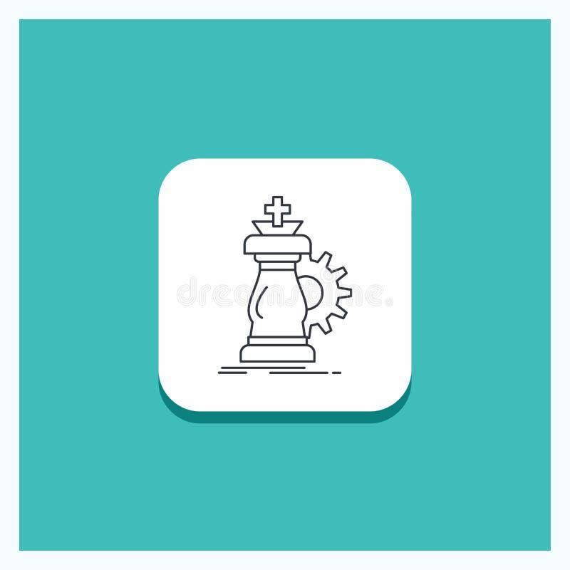 战略的,棋,马,骑士,成功线象绿松石背景圆的按钮 皇族释放例证