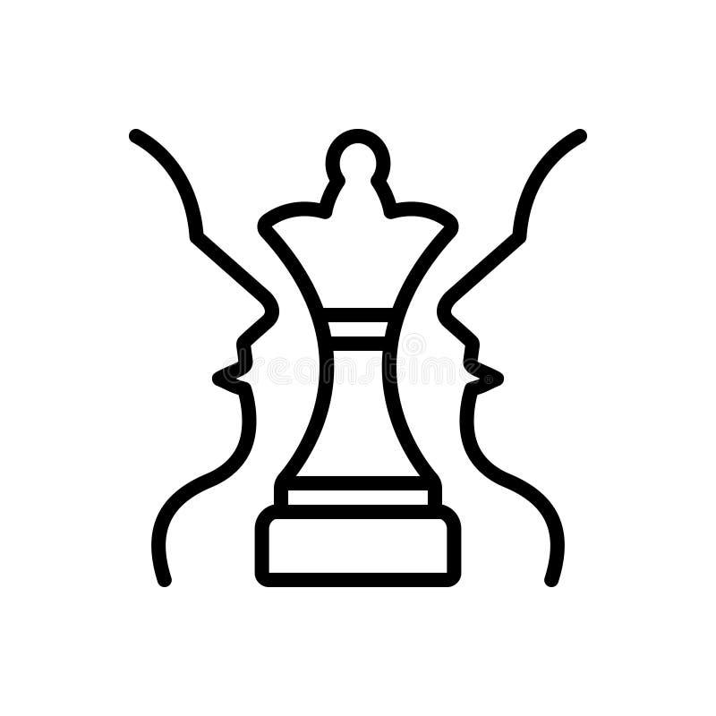 战略计划、棋和挑战的黑线象 库存例证
