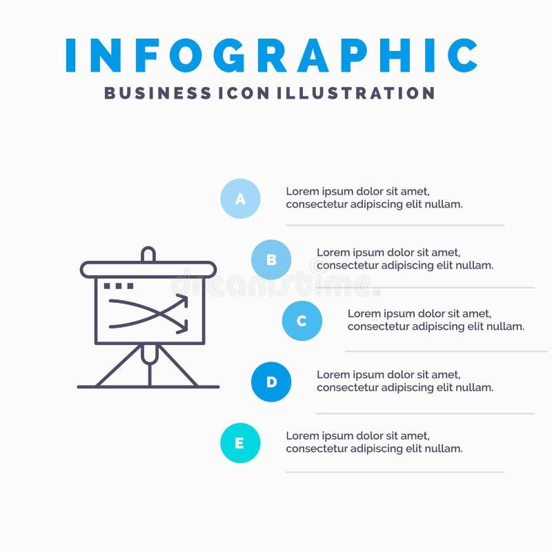 战略,事务,计划,计划,图表线象有5步介绍infographics背景 向量例证