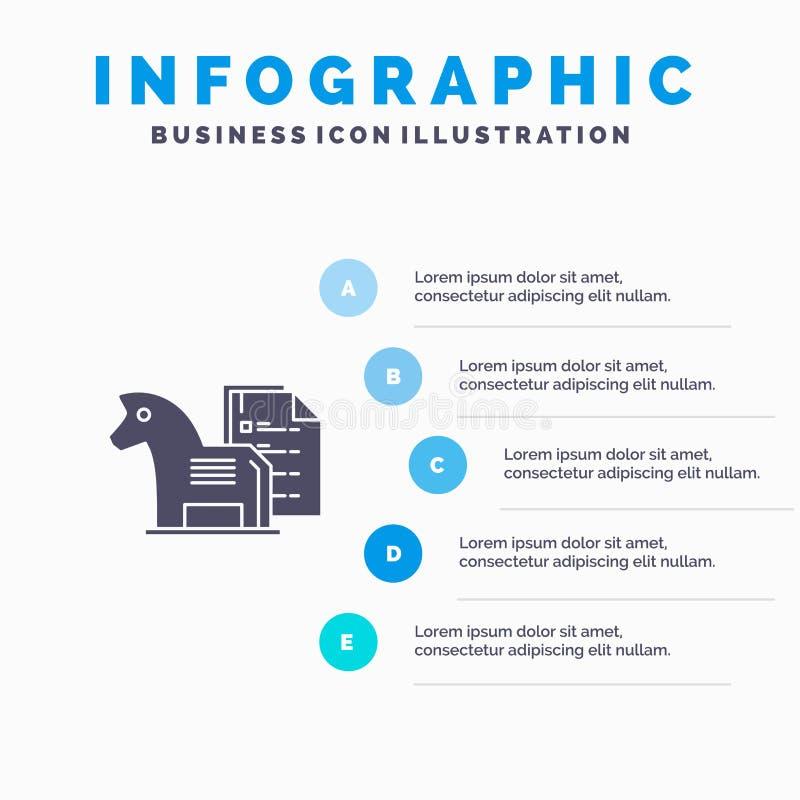战略,好处,事务,棋,财务,战术坚实象Infographics 5步介绍背景 皇族释放例证