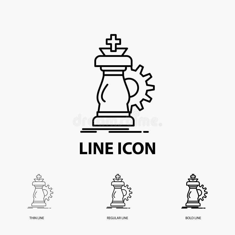 战略,棋,马,骑士,在稀薄,规则和大胆的线型的成功象 r 皇族释放例证