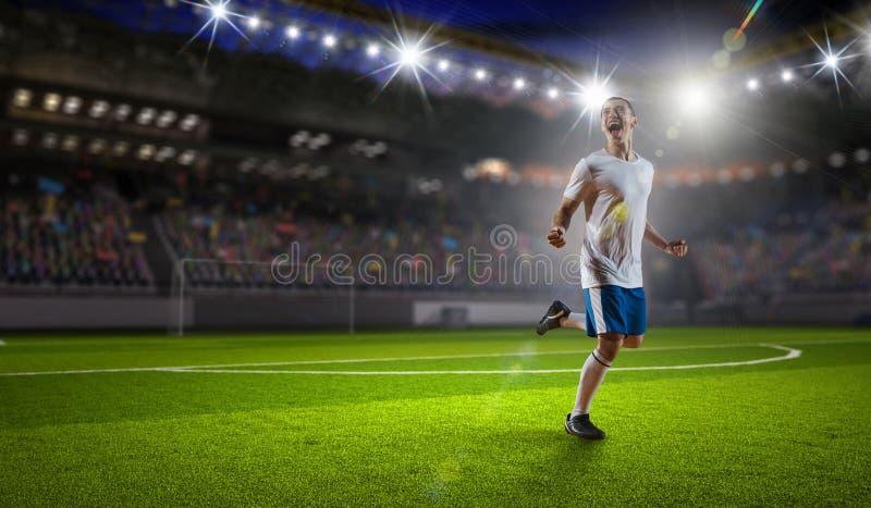 战胜足球运动员 混合画法 免版税库存图片