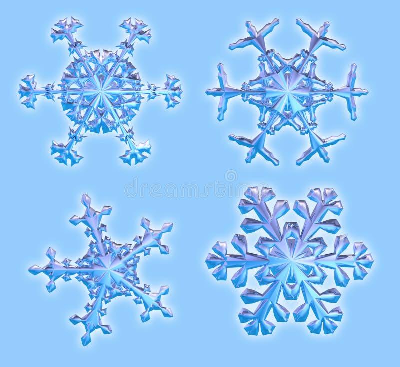 截去四的3d包括路径雪花 向量例证