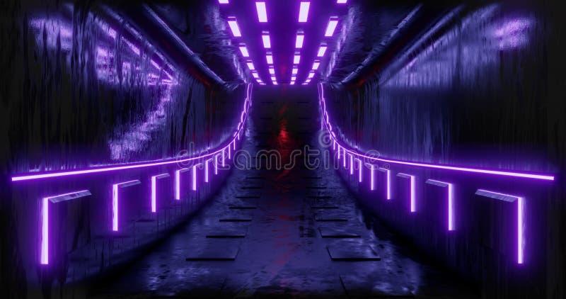 截去容易的编辑文件例证的3d包括了路径翻译 科学幻想小说未来派抽象梯度蓝色紫罗兰色桃红色氖 在反射的一个发光的走廊  皇族释放例证