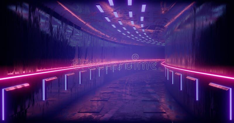 截去容易的编辑文件例证的3d包括了路径翻译 科学幻想小说未来派抽象梯度蓝色紫罗兰色桃红色氖 在反射的一个发光的走廊  免版税库存图片