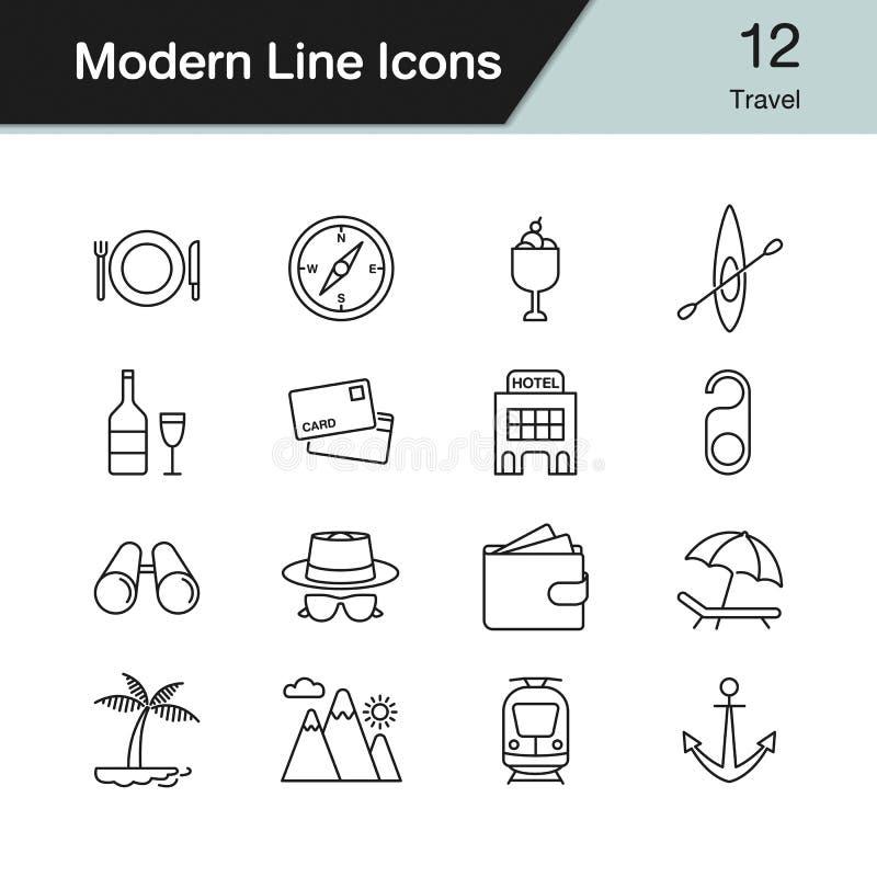 截去的数字式图标例证包括的路径抓旅行 现代线设计设置了12 也corel凹道例证向量 皇族释放例证