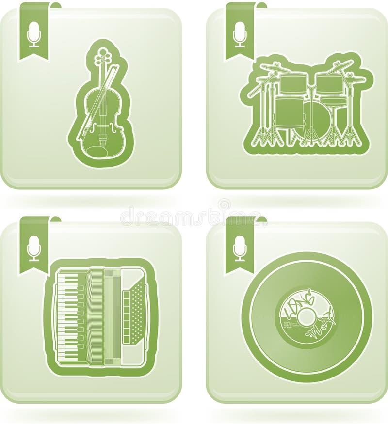 截去的数字式图标例证包括的音乐路径抓 向量例证