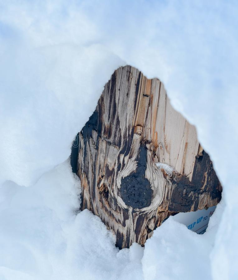 戳通过雪的木结 图库摄影