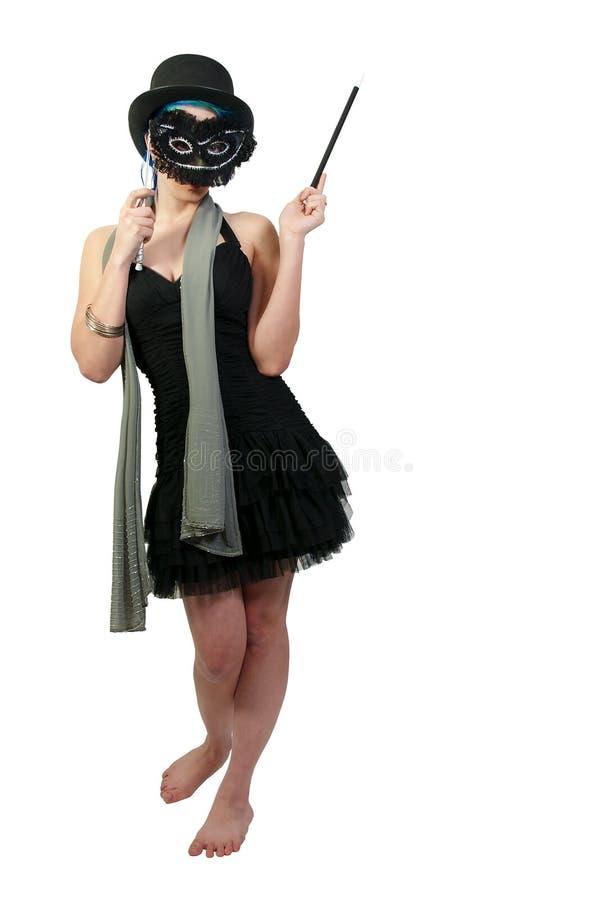 戴一顶高顶丝质礼帽的妇女 图库摄影