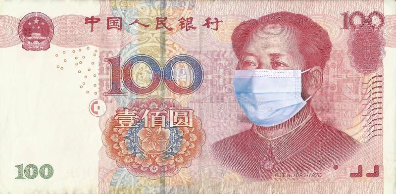戴医用面具的元与毛泽东 冠状病毒COVID-19流行病概念 世界金融危机 库存图片