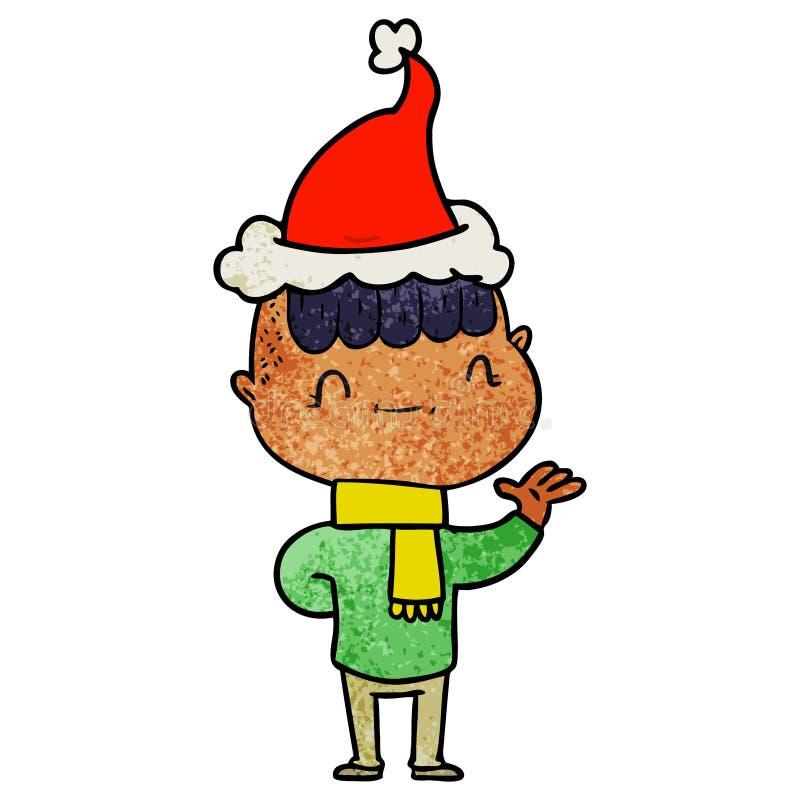戴圣诞老人帽子的一个友好的男孩的织地不很细动画片 皇族释放例证