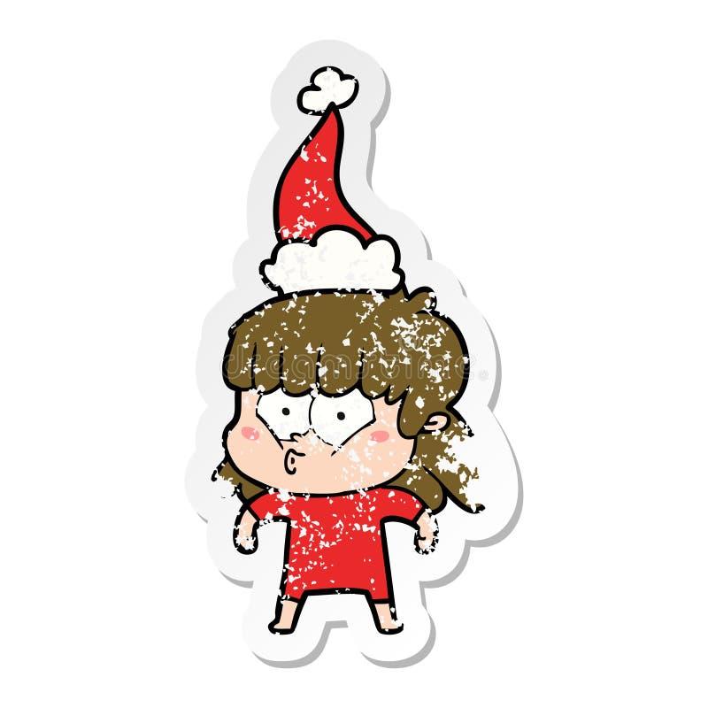戴圣诞老人帽子的一个吹哨的女孩的困厄的贴纸动画片 库存例证